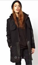 New ASOS Black Quilt Stitch Detail Mixed Media Black Wool Parka Coat 8