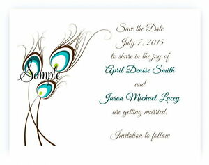 100 Personalized Custom Teal Brown Peacock Bridal Wedding Save The Date Cards