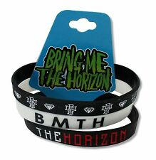 BRING ME THE HORIZON - 3 PIECE BLACK / WHITE / BLACK SILICONE WRISTBAND NEW NWT