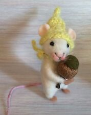 Needle Felted Mouse Acorn Magic Art Wool New