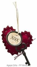 PBK Small Miniature Valentines Ornaments  - Baby Heart Felt Hearts XOX #20641