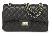 Lambskin Leather Black or Red Quilted Handbag with Quilted Chain Flap Bag