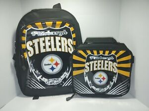 NFL Pittsburgh Steelers Lightning Style 2 Piece Backpack & Lunch Kit NWT