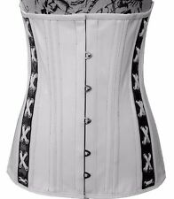 White Pure Real Leather Steel Bones Lace up Under Bust Corset 2XS~7XL