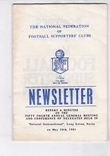 NATIONAL FEDERATION OF FOOTBALL SUPPORTERS' CLUBS NEWSLETTER 30/5/81