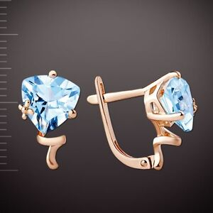 Russian trillion cut topaz earrings solid rose gold 585/14k stamped NWT TOP