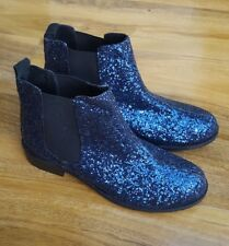 Boden Ladies Glamourous Size 4 (37) Blue Glitter Ankle Boots Low Heel. BRAND NEW