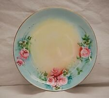 "Favorite Bavaria German Hand Painted 6-1/8"" Plate Blue & Yellow w Pink Floral"