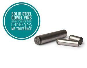 Metric Hardened and Ground Steel Dowel Pins DIN6325 8mm Diameter 10pcs