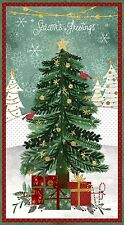CHRISTMAS TREE ~FROSTED HOLIDAY~WILMINGTON~FABRIC PANEL~SEASON'S GREETINGS~SNOWY