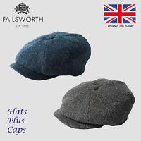 Failsworth Carloway Blue Herringbone Harris Tweed Newsboy Peaky Blinders Cap