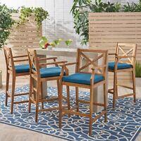 Doric Outdoor Rustic Acacia Wood Barstools with Cushions (Set of 4)