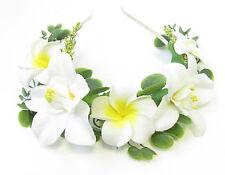Blanc Plumeria & Orchid Grecian cheveux fleur couronne bandeau floral coiffure V51