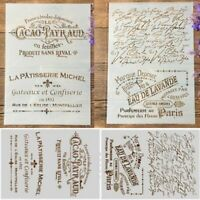 French Words Pattern Stamp Stencil DIY Scrapbook Decor Journal Diary Art