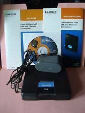 Cisco Linksys Model# CM100 Cable Modem Power Adapter Ethernet Cable CD