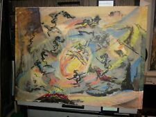 """Original Oil Painting """"After Pollack"""" by Listed Modernist William Corasick"""
