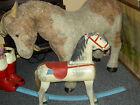 Large heavy, antique wood rocking horse, ride-on sturdy, dapple grey pony toy