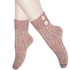 ladies seamless crochet button socks calf length warm melange bright colour