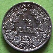 ALLEMAGNE 1/2 MARK 1905 F