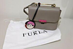 Furla Elisir Leather Crossbody Shoulder Bag Grey and Beige with Dust Bag