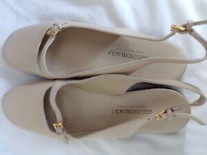 Womens Bruno magli flat shoes, 7, beige, 2 adj. buckles, handmade Italy
