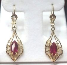 "14 k Solid Filigree Dangle Earrings set Lab Ruby with French Wire Backs 1 3/4"" L"