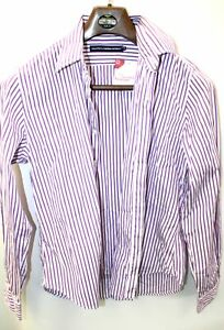 Ladies POLO RALPH LAUREN Pink Striped Buttoned Long Sleeve UK 12 - P04