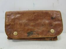 Antique Leather & Cloth Military? Folding Pouch for Sewing or Other