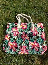 *Pink, Green & Black Floral Canvas Bag*