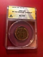1808 10C BRITAIN INDIAN MADRAS GARDNER ANACS AU 55