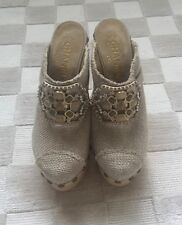 CHANEL RUNWAY 2010 WOODEN PLATFORN LINEN CLOG with JEWELED ACCENT. RARE.Sz.38.5