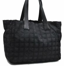 Authentic Chanel New Travel Line Nylon Leather Shoulder Tote Bag Black  A4756