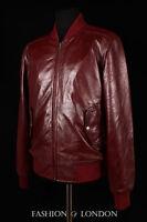 Men's AIRBORNE Oxblood Red Burgundy Lambskin Bomber Real Aviator Leather Jacket