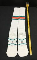 2014 MIAMI DOLPHINS TEAM ISSUED NIKE ON FIELD WHITE/STRIPES NFL SOCKS ALL SIZES!