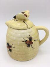 Vintage Yellow Ceramic Honey Pot Pitcher With Majolica Honey Bees