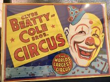 ORIG RARE OLD CIRCUS POSTER CLYDE BEATTY COLE BROS CIRCUS LARGEST FRAMED