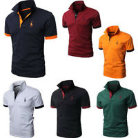 Mens Polo Shirt Short Sleeve Plain Top Design Style Casual Fit Jersey T Shirt