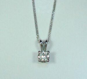 1/3CT SOLITAIRE DIAMOND 18ct WHITE GOLD 4 CLAW PENDANT + CHAIN NECKLACE + BOX