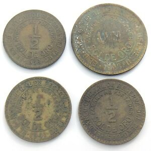 1941 43 58 60 Un 1/2 Pacara Al Portador Sol De Oro Reserva Peru Four Coins I081