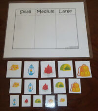 Camping Themed Size Sorting laminated preschool activity. 110 lb card stock.