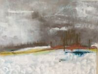 """Abstract landscape Original acrylic painting on canvas 28"""" x 22"""""""