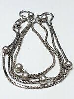 Art Deco Silber Kugelkette 78 cm - 835 Silber punziert - 1940er Jahre / A551