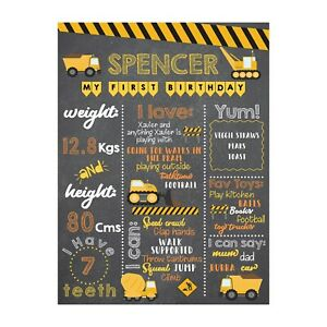 Construction Themed Baby First Birthday Board Milestones Chalkboard Pink Any Age