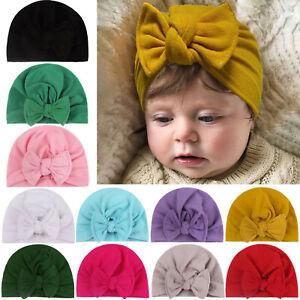 Toddler Newborn Baby Solid Hat Cap Beanie Bow Headband Hair Headwear Accessories