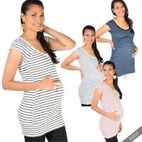 Maternity Striped T Shirt Vest Long Top Blouse Pregnancy Casual Everyday