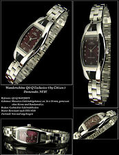 "Q&Q Women's Watch "" Exclusive Design "" Complete Stainless Steel Claret Face NEW"