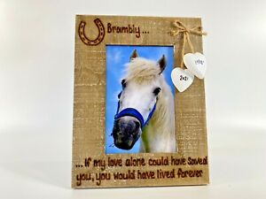 """Horse Loss   Memorial In Memory   Personalised Photo Frame Driftwood Style 6x4"""""""
