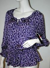 CYNTHIA STEFFE Passion PLUM Purple BLOUSE Top DRAWSTRING Elastic WAIST XS $128