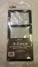 (5) BCW 3 CARD SCREW DOWN BLACK BORDER CASE 1-3CS-B