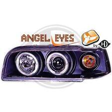 Coppia fari fanali anteriori TUNING Volvo 850 1992 ->1997 neri anelli ANGEL EYES